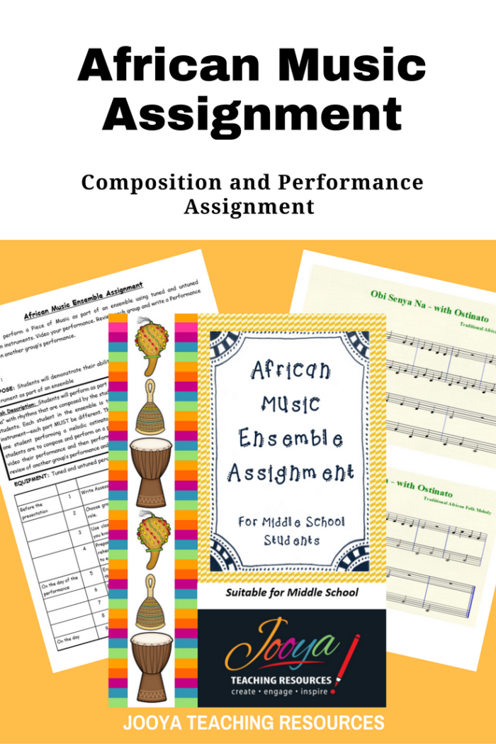 African Music Ensemble Composition and Performance assignment by Jooya Teaching Resources. This assignment is best suited to middle school students. Assignment includes task description, marking rubrics and reflection/self-evaluation questions.