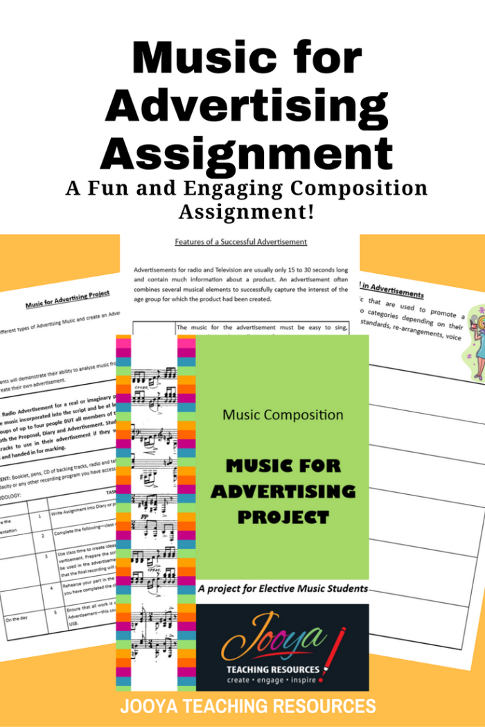 Music for Advertising Composition assignment by Jooya Teaching Resources. This assignment is best suited to middle school and older students. Assignment includes task description, marking rubrics and reflection/self-evaluation questions.