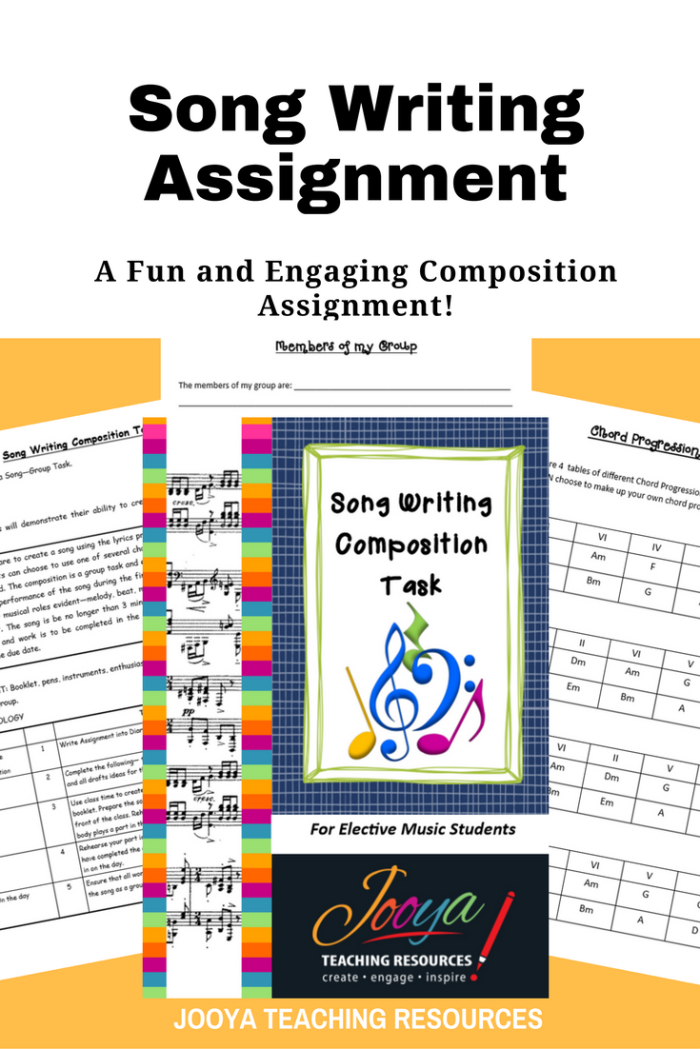 Song Writing Composition and Performance assignment by Jooya Teaching Resources. This assignment is best suited to middle school and older students. Assignment includes task description, chord progressions, guitar and keyboard chord charts, marking rubrics and reflection/self-evaluation questions.