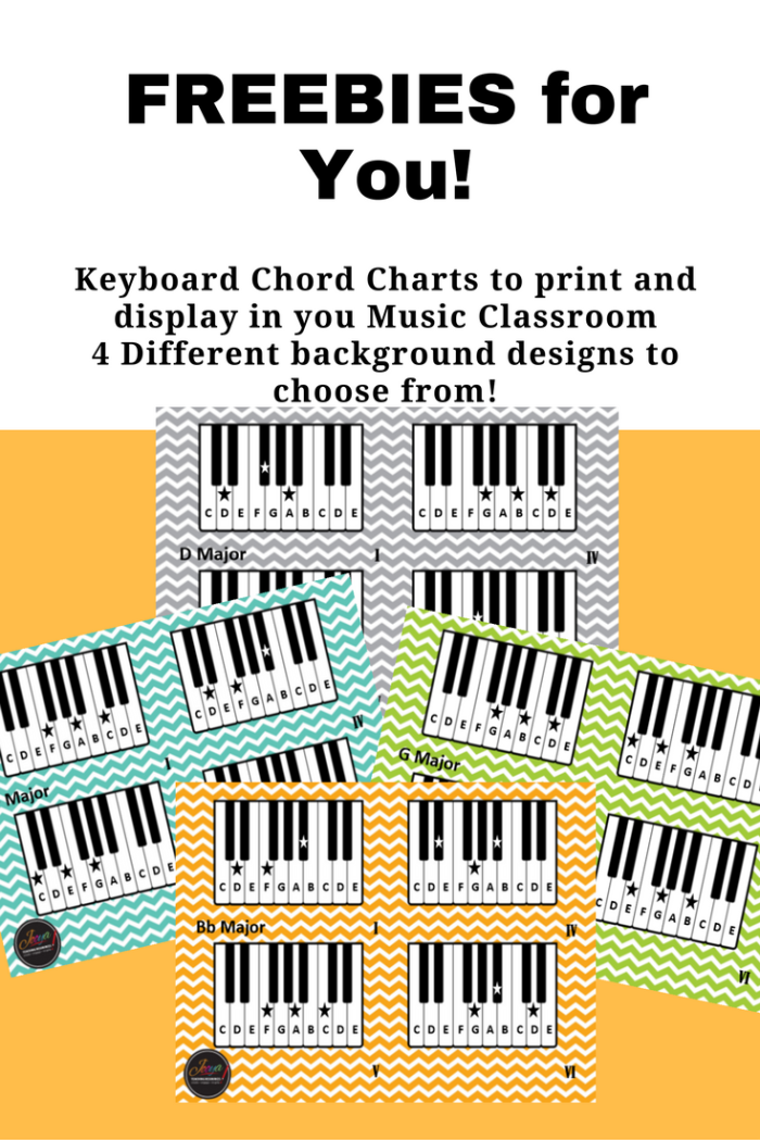 FREE printable Keyboard Chord Charts by Jooya Teaching Resources. These are perfect for the young musician to help them remember chord formations and placement on the keyboard. Four different backgrounds to choose from to print and display ion your classroom.