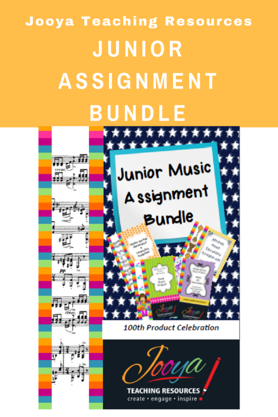 Junior Music Assignment Bundle from Jooya Teaching Resources. Save time and energy with this $$$ saving Bundle that is perfect for Middle School Music Students. There are four assignments to use – Rock Music Design Project, Rhythm and Rap, Make an Instrument and African Music Ensemble Assignment.