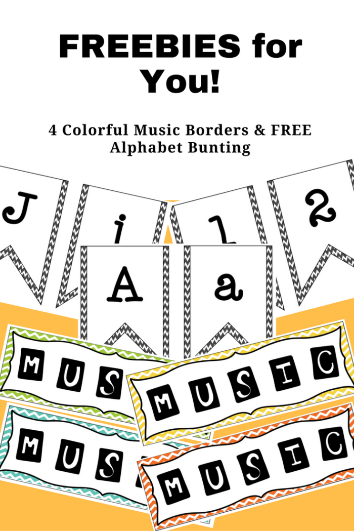 FREE Music Borders and Alphabet Bunting from Jooya Teaching Resources. There are four different colours in the Music borders and a unique and versatile alphabet bunting. Ready to download, print and display in your classroom today!