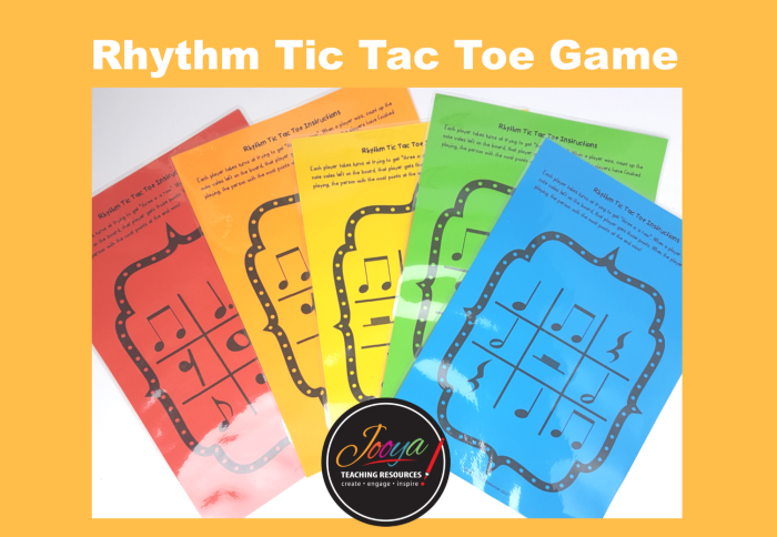 Music Rhythm Tic Tac Toe Game from Jooya Teaching Resources. Insert some fun into your music classes with this simple and engaging game that your students will love. 12 different game boards of varying difficulty for you to print as many as you need for your classes. Includes game tokens and a scoring record page.