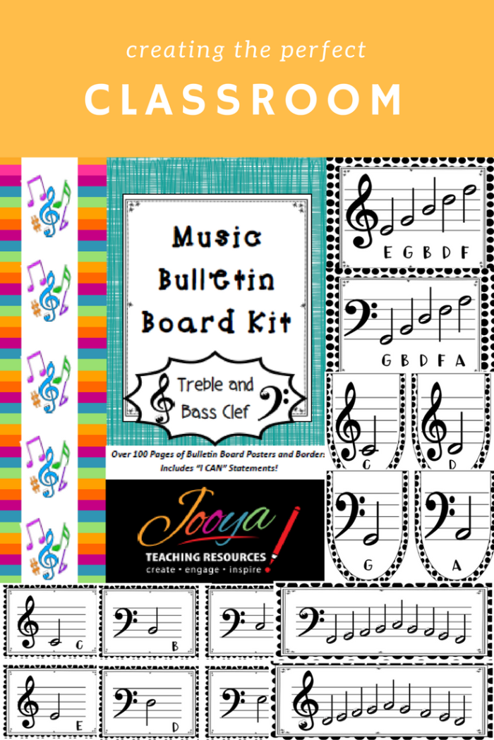 Treble and Bass Clef Bulletin Board Kit from Jooya Teaching Resources. Includes borders, alphabet bunting, note value bunting, I Can statements, large note pages and 4 to a page small note cards for cooperative learning activities. All for both Treble and Bass Clef. A perfect addition to the Music Classroom.